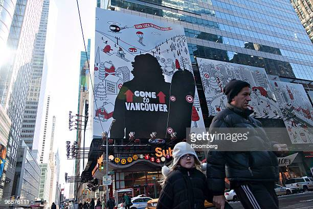 A Target Corp advertisement featuring a sillouette of snowboarder Shaun White hangs in Times Square in New York US on Thursday Feb 11 2010 The...