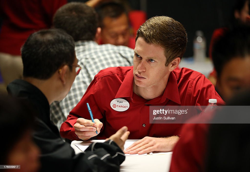 A Target employee interviews a job seeker during a job fair at a new Target retail store on August 15, 2013 in San Francisco, California. Hundreds of job seekers applied for jobs during a job fair to staff a new Target City store. According to a report by the Labor Department, the number of people seeking first time unemployment benefits fell to the lowest level since 2007 with initial jobless claims decreasing by 15,000 to 320,000.