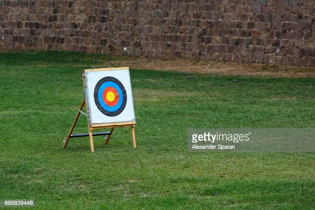 Target for arrows standing on a grass field