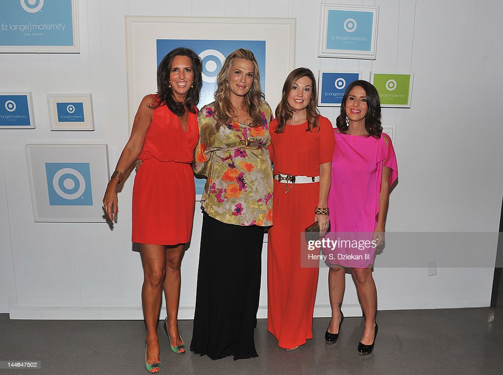 Target maternity wear designer Liz Lange, actress Molly Sims, Dustee Tucker Jenkins, VP of Communications, Target, and actress, director Soleil Moon Frye pose for a portrait as they attend Liz Lange for Target 10th Anniversary Party at The Glasshouses on May 16, 2012 in New York City.