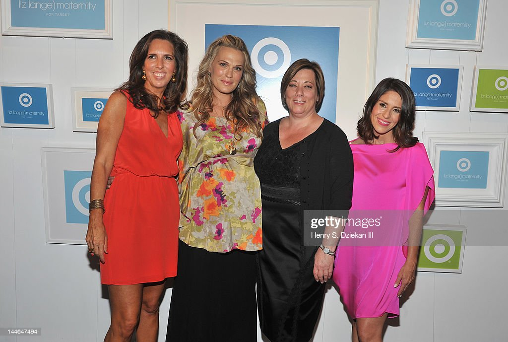 Target maternity wear designer Liz Lange, actress Molly Sims, Trish Adams, Target Senior Vice President, Merchandising, Apparel & Accessories and actress, director Soleil Moon Frye pose for a portrait as they attend Liz Lange for Target 10th Anniversary Party at The Glasshouses on May 16, 2012 in New York City.