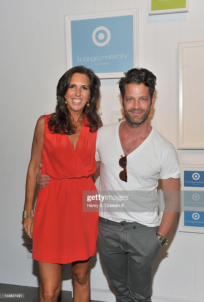 Target maternity wear designer Liz Lange and design expert Nate Berkus pose for a portrait at Liz Lange for Target 10th Anniversary Party at The Glasshouses on May 16, 2012 in New York City.