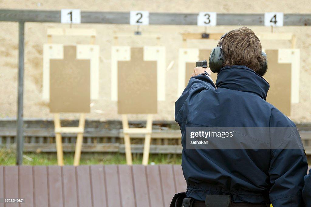 Target practicing with gun