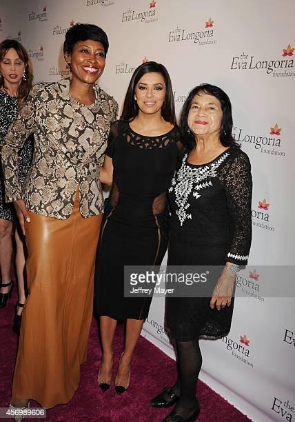 Target Pres of Community Relations Laysha Ward actress Eva Longoria and Civil Rights Leader Dolores Huerta attend Eva Longoria's Foundation dinner at...