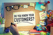 Do you know your customers question in office, business relationships, customer satisfaction, quality, audience control, loyalty, targeting clients, marketing, advertising concept background.