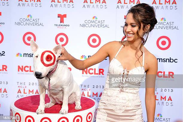 Target's bull terrier mascot Bullseye and actress Maiara Walsh celebrate the 2013 NCLR ALMA Awards sponsored by Target at Pasadena Civic Auditorium...