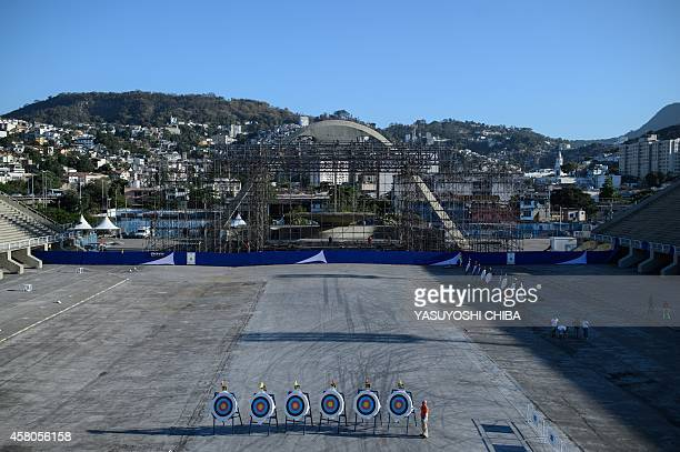 Targets of archery remain after having been displayed during the opening ceremony of the 40th Brazilian Archery Championship at Sambadrome in Rio de...