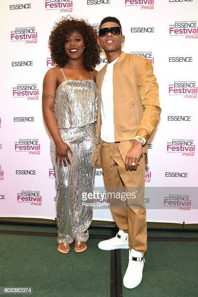 Ta'Rhonda Jones and Bryshere Y Gray pose in the press room at the 2017 ESSENCE Festival presented by CocaCola at Ernest N Morial Convention Center on...