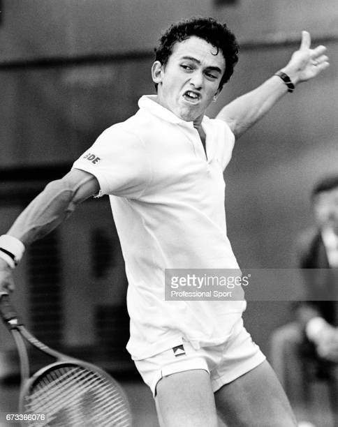Tarik Benhabiles of France in action during the French Open Tennis Championships held at Roland Garros in Paris circa May 1987