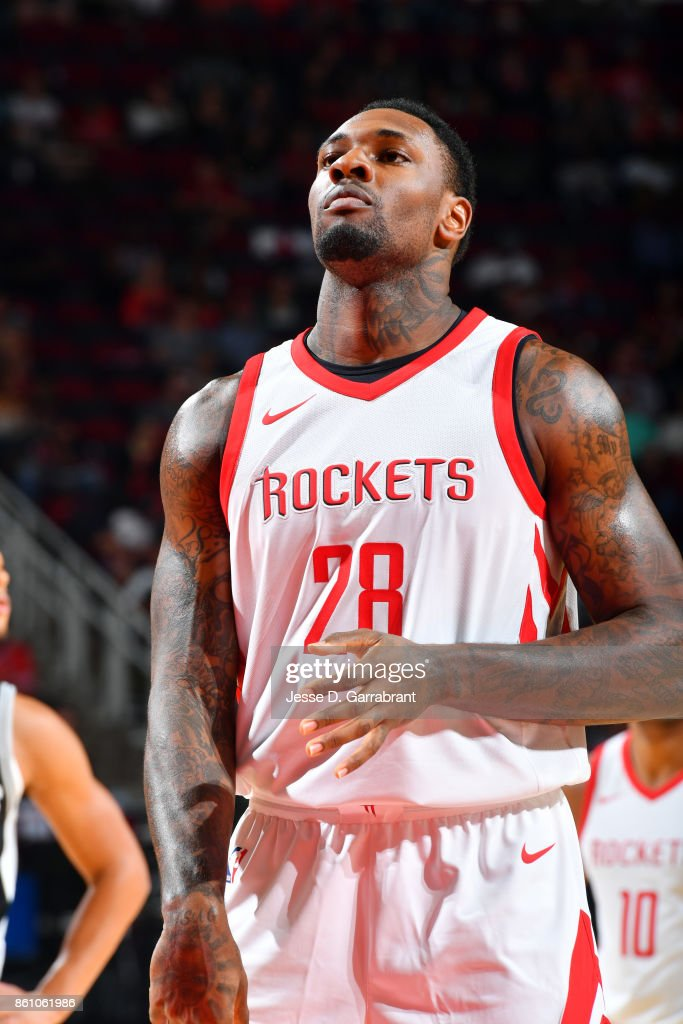 Tarik Black #28 of the Houston Rockets reacts during the preseason game against the San Antonio Spurs on October 13, 2017 at Toyota Center in Houston, Texas.
