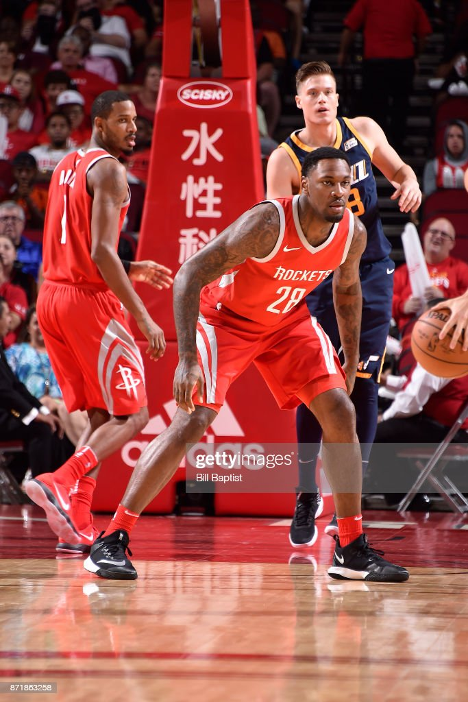 Tarik Black #28 of the Houston Rockets reacts to a play against the Utah Jazz on November 5, 2017 at the Toyota Center in Houston, Texas.
