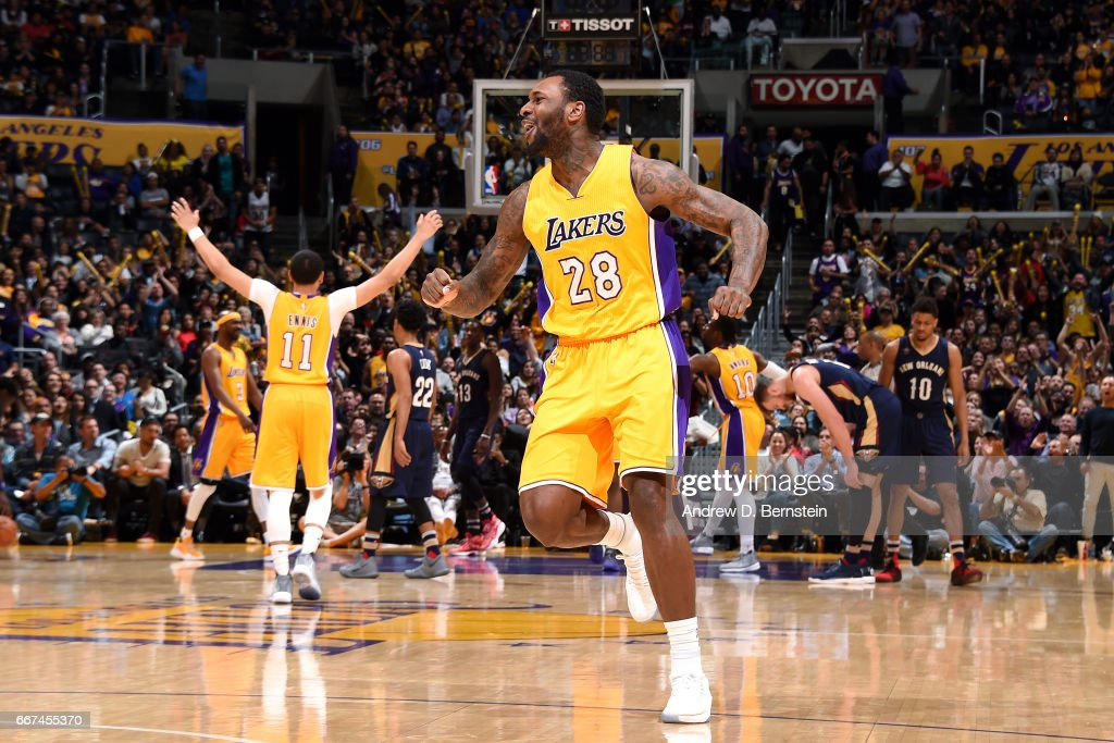 Tarik Black #28 of the Los Angeles Lakers reacts during the game against the New Orleans Pelicans on April 11, 2017 at STAPLES Center in Los Angeles, California.