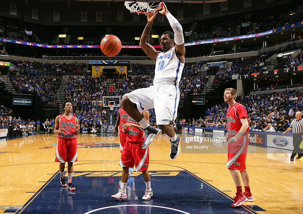 Tarik Black #10 of the Memphis Tigers dunks the ball against the CBU Buccaneers on November 7, 2012 at FedExForum in Memphis, Tennessee.