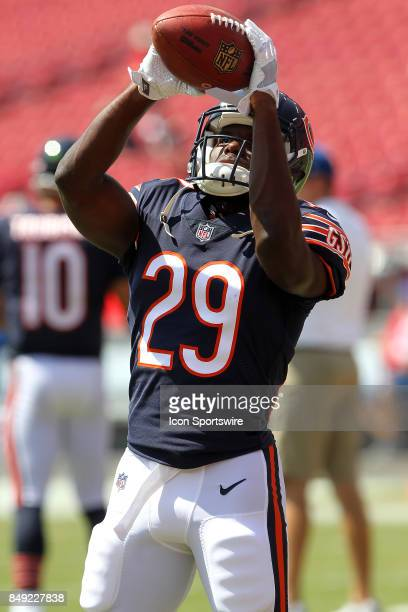 Tarik Cohen of the Bears warms up before the NFL Regular game between the Chicago Bears and the Tampa Bay Buccaneers on September 17 2017 at Raymond...