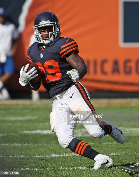 Tarik Cohen of the Chicago Bears breaks a long run in overtime against the Pittsburgh Steelers at Soldier Field on September 24 2017 in Chicago...