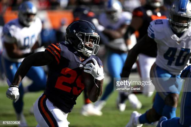 Tarik Cohen of the Chicago Bears carries the football in the second quarter against the Detroit Lions at Soldier Field on November 19 2017 in Chicago...