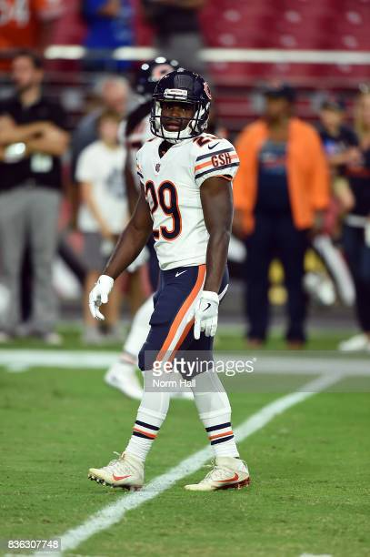 Tarik Cohen of the Chicago Bears prepares for a game against the Arizona Cardinals at University of Phoenix Stadium on August 19 2017 in Glendale...