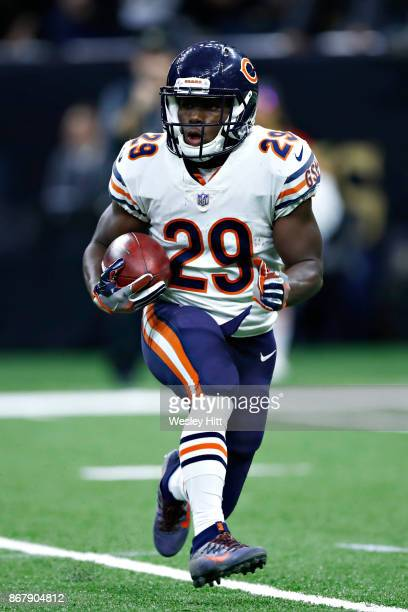Tarik Cohen of the Chicago Bears returns a kickoff in the fourth quarter during a game against the New Orleans Saints at MercedesBenz Superdome on...