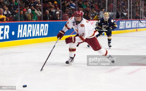 Tariq Hammond of the Denver Pioneers skates against the Notre Dame Fighting Irish during game two of the 2017 NCAA Division I Men's Hockey Frozen...