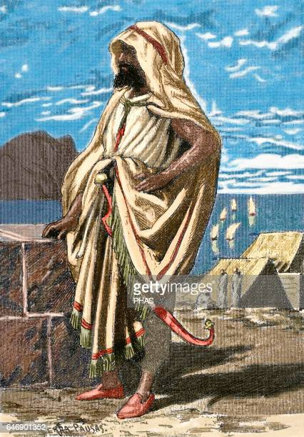 Tariq ibn Ziyad Muslim General of the Berber tribe of Nafza who led the Muslim conquest of the Visigothic Hispania Engraving Colored