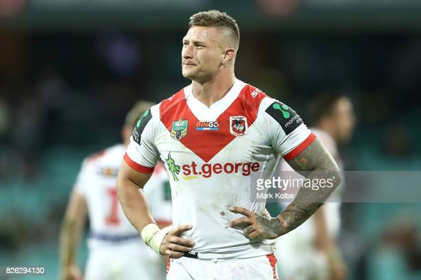 Tariq Sims of the Dragons looks dejected after defeat during the round 22 NRL match between the St George Illawarra Dragons and the South Sydney...