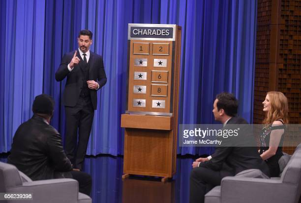 Tariq Trotter of the RootsJoe Manganiello host Jimmy Fallon and Jessica Chastain play charades during a segement on 'The Tonight Show Starring Jimmy...