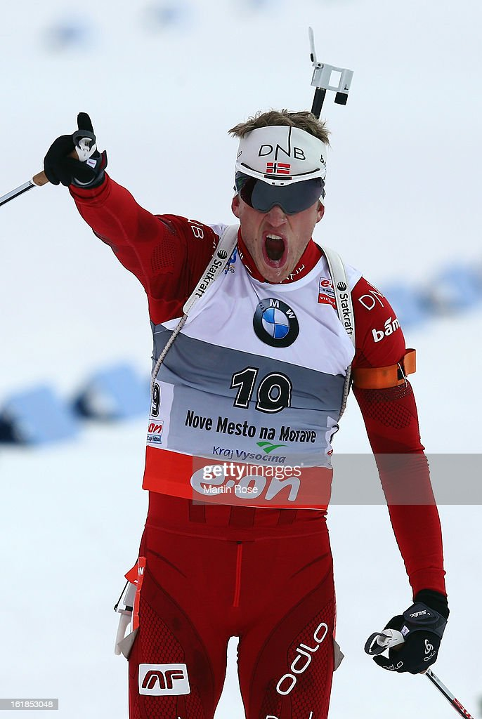 <a gi-track='captionPersonalityLinkClicked' href=/galleries/search?phrase=Tarjei+Boe&family=editorial&specificpeople=6614833 ng-click='$event.stopPropagation()'>Tarjei Boe</a> of Norway celebrates after he crosses the finish line and wins the gold medal in the Men's 15km Mass Start during the IBU Biathlon on February 17, 2013 in Nove Mesto na Morave, Czech Republic.