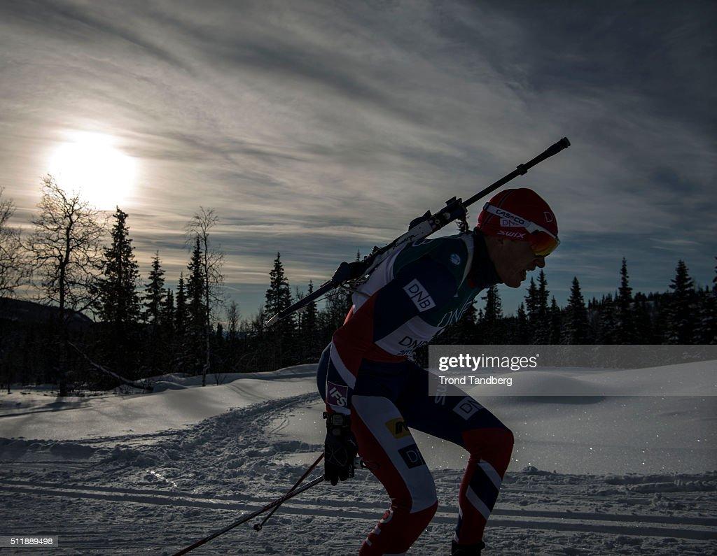 Tarjei Boe of Norway in action during training at Norwegian Biathlon ...
