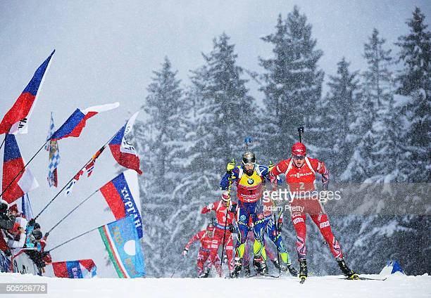 Tarjei Boe of Norway leads the pack on the first lap during the Men's 15km Biathlon race of the Ruhpolding IBU Biathlon World Cup on January 16 2016...