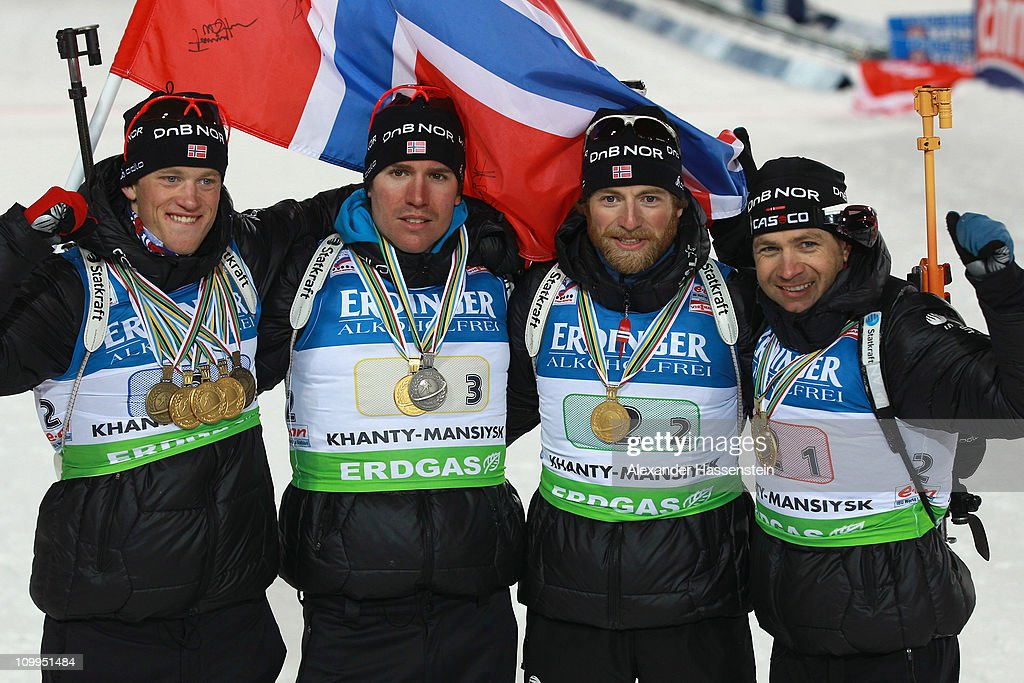 <a gi-track='captionPersonalityLinkClicked' href=/galleries/search?phrase=Tarjei+Boe&family=editorial&specificpeople=6614833 ng-click='$event.stopPropagation()'>Tarjei Boe</a> (L) of Norway poses with his team mates <a gi-track='captionPersonalityLinkClicked' href=/galleries/search?phrase=Emil+Hegle+Svendsen&family=editorial&specificpeople=831528 ng-click='$event.stopPropagation()'>Emil Hegle Svendsen</a> (2nd L), Alexander Os (2nd R) and <a gi-track='captionPersonalityLinkClicked' href=/galleries/search?phrase=Ole+Einar+Bjoerndalen&family=editorial&specificpeople=206663 ng-click='$event.stopPropagation()'>Ole Einar Bjoerndalen</a> (R) after the medal ceremony for the men's relay during the IBU Biathlon World Championships at A.V. Philipenko winter sports centre on March 11, 2011 in Khanty-Mansiysk, Russia.