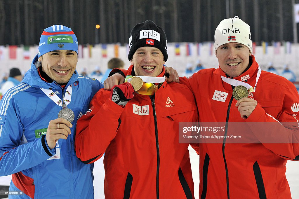 <a gi-track='captionPersonalityLinkClicked' href=/galleries/search?phrase=Tarjei+Boe&family=editorial&specificpeople=6614833 ng-click='$event.stopPropagation()'>Tarjei Boe</a> of Norway takes 1st place, <a gi-track='captionPersonalityLinkClicked' href=/galleries/search?phrase=Anton+Shipulin&family=editorial&specificpeople=6678388 ng-click='$event.stopPropagation()'>Anton Shipulin</a> of Russia takes 2nd place, <a gi-track='captionPersonalityLinkClicked' href=/galleries/search?phrase=Emil+Hegle+Svendsen&family=editorial&specificpeople=831528 ng-click='$event.stopPropagation()'>Emil Hegle Svendsen</a> of Norway takes 1st place during the IBU Biathlon World Championship Men's 15km Mass Start on February 17, 2013 in Nove Mesto, Czech Republic.