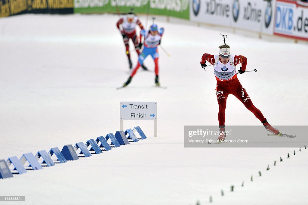 Tarjei Boe of Norway takes 1st place, Anton Shipulin of Russia takes 2nd place, Emil Hegle Svendsen of Norway takes 1st place during the IBU Biathlon World Championship Men's 15km Mass Start on February 17, 2013 in Nove Mesto, Czech Republic.