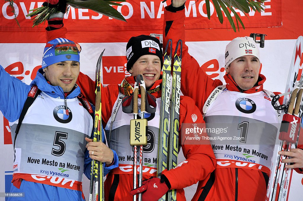 <a gi-track='captionPersonalityLinkClicked' href=/galleries/search?phrase=Tarjei+Boe&family=editorial&specificpeople=6614833 ng-click='$event.stopPropagation()'>Tarjei Boe</a> of Norway takes 1st place, <a gi-track='captionPersonalityLinkClicked' href=/galleries/search?phrase=Anton+Shipulin&family=editorial&specificpeople=6678388 ng-click='$event.stopPropagation()'>Anton Shipulin</a> of Russia takes 2nd place, <a gi-track='captionPersonalityLinkClicked' href=/galleries/search?phrase=Emil+Hegle+Svendsen&family=editorial&specificpeople=831528 ng-click='$event.stopPropagation()'>Emil Hegle Svendsen</a> of Norway takes 3rd place during the IBU Biathlon World Championship Men's 15km Mass Start on February 17, 2013 in Nove Mesto, Czech Republic.