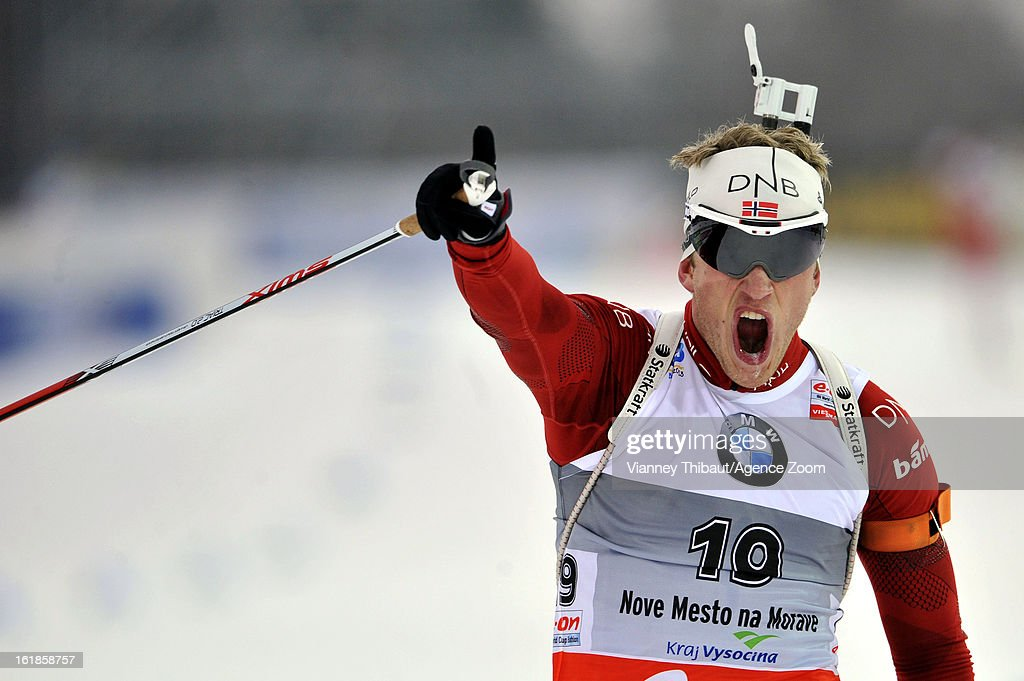 <a gi-track='captionPersonalityLinkClicked' href=/galleries/search?phrase=Tarjei+Boe&family=editorial&specificpeople=6614833 ng-click='$event.stopPropagation()'>Tarjei Boe</a> of Norway takes 1st place during the IBU Biathlon World Championship Men's 15km Mass Start on February 17, 2013 in Nove Mesto, Czech Republic.