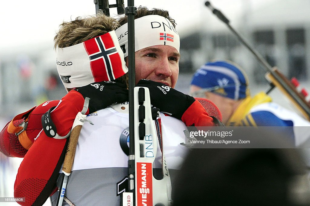 <a gi-track='captionPersonalityLinkClicked' href=/galleries/search?phrase=Tarjei+Boe&family=editorial&specificpeople=6614833 ng-click='$event.stopPropagation()'>Tarjei Boe</a> of Norway takes 1st place, <a gi-track='captionPersonalityLinkClicked' href=/galleries/search?phrase=Emil+Hegle+Svendsen&family=editorial&specificpeople=831528 ng-click='$event.stopPropagation()'>Emil Hegle Svendsen</a> of Norway takes takes 3rd place during the IBU Biathlon World Championship Men's 15km Mass Start on February 17, 2013 in Nove Mesto, Czech Republic.