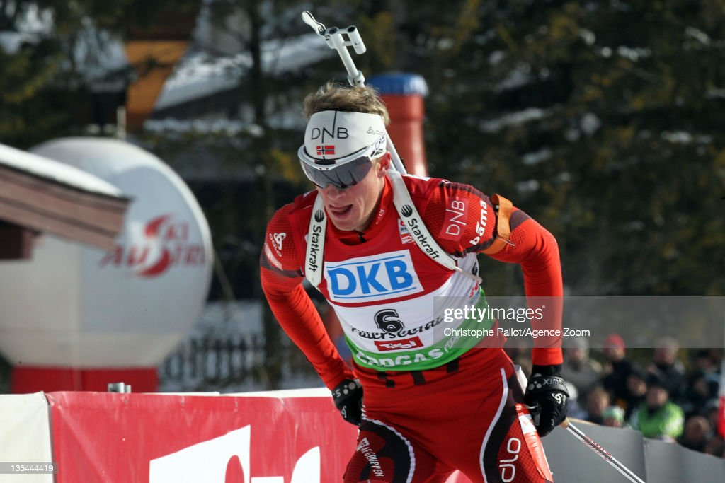 <a gi-track='captionPersonalityLinkClicked' href=/galleries/search?phrase=Tarjei+Boe&family=editorial&specificpeople=6614833 ng-click='$event.stopPropagation()'>Tarjei Boe</a> of Norway takes 2nd place during the IBU Biathlon World Cup MenÕs Pursuit on December 10, 2011 in Hochfilzen, Austria.