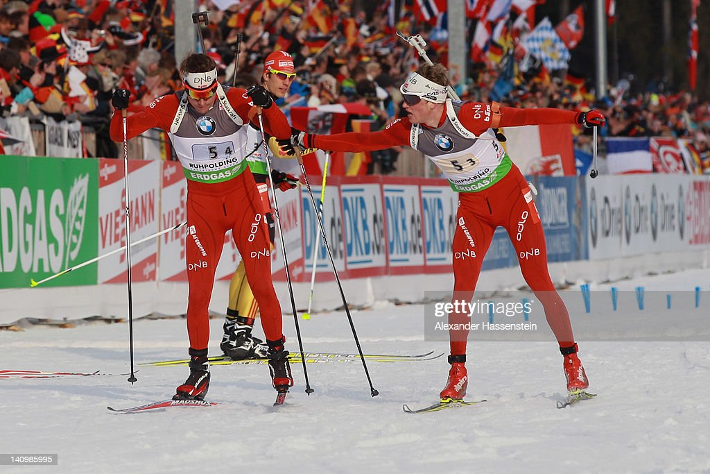 Tarjei Boe of team Norway hands over to his team mate Emil Hegle Svendsen during the Men's 4 x 75km Relay during the IBU Biathlon World Championships...