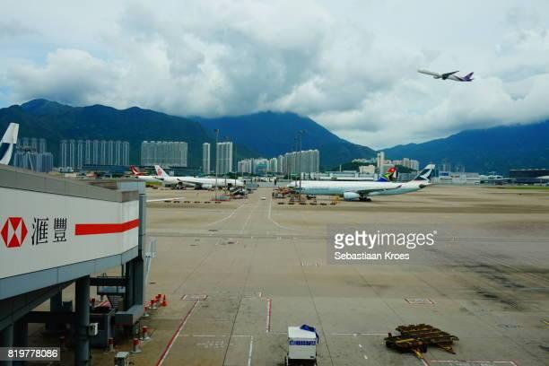 Tarmac at Hong Kong International Airport, Flying Plane, Hong Kong, China