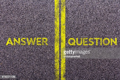 Tarmac with the words answer and question : Stock Photo