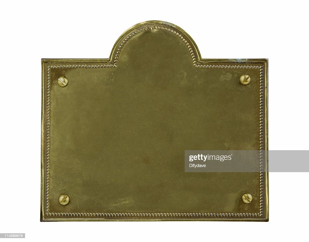 Tarnished Old Brass Plate : Stock Photo