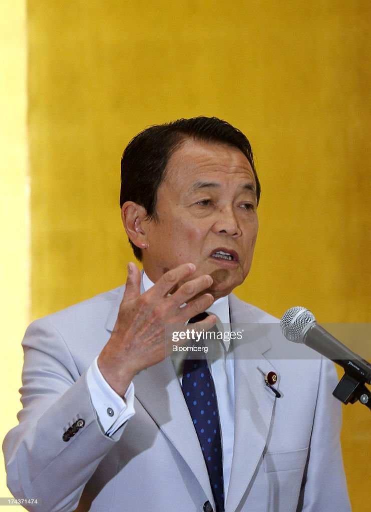 <a gi-track='captionPersonalityLinkClicked' href=/galleries/search?phrase=Taro+Aso&family=editorial&specificpeople=559212 ng-click='$event.stopPropagation()'>Taro Aso</a>, Japan's deputy prime minister and finance minister, makes a speech at a session titled 'Japanese Capital Market for Asian Development' at the Asean+3 Bond Market Forum in Tokyo, Japan, on Thursday, July 25, 2013. Aso said Japan needs steady steps towards fiscal consolidation. Photographer: Tomohiro Ohsumi/Bloomberg via Getty Images