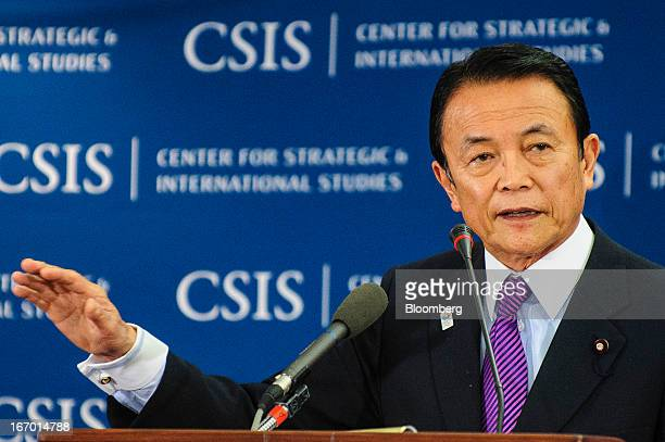 Taro Aso Japan's deputy prime minister and finance minister speaks at the Center for Strategic International Studies during the International...
