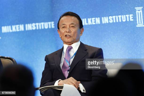 Taro Aso Japan's deputy prime minister and finance minister speaks during the Milken Institute Global Conference in Beverly Hills California US on...