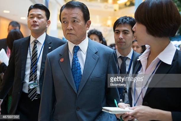 Taro Aso Japan's deputy prime minister and minister for finance and financial services arrives to a Group of 20 and finance ministers and central...