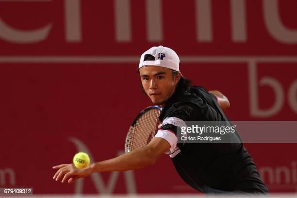 Taro Daniel of Japan in action during the match between Taro Daniel of Japan and Gilles Muller of Luxembourg for Millennium Estoril Open at Clube de...