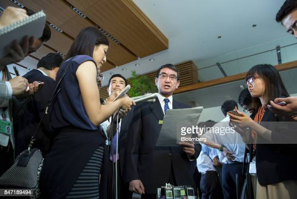 Taro Kono Japan's foreign minister speaks to the media after a cabinet meeting at the Prime Minister's Official Residence in Tokyo Japan on Friday...