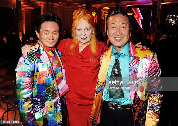 Taro Otsuka Dame Vivienne Westwood and Kansai Yamamoto attend the dinner to celebrate The David Bowie Is exhibition in partnership with Gucci and...
