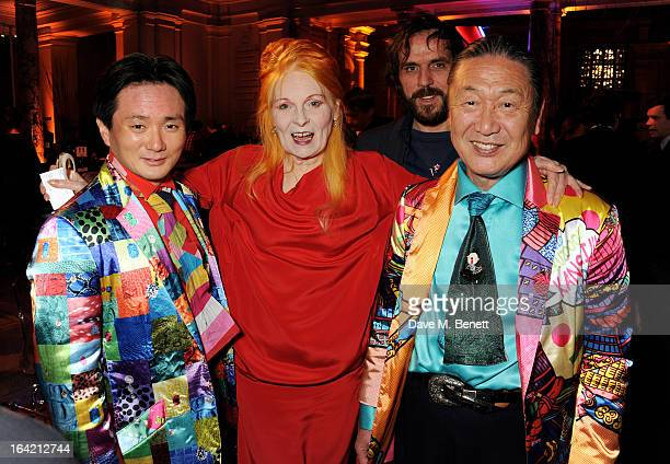 Taro Otsuka Dame Vivienne Westwood Andreas Kronthaler and Kansai Yamamoto attend the dinner to celebrate The David Bowie Is exhibition in partnership...