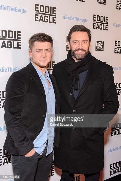 Taron Egerton and Hugh Jackman attend the Chicago screening of 'Eddie the Eagle' at Kerasotes Showplace ICON on February 16 2016 in Chicago Illinois