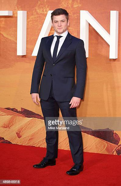 Taron Egerton attends the European premiere of 'The Martian' at Odeon Leicester Square on September 24 2015 in London England
